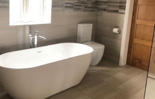 New Bathroom, Freestanding Bath, Pocket Sliding Door,
